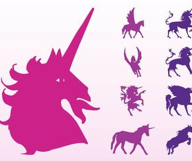 Unicorns And Horses Silhouettes art vector graphic