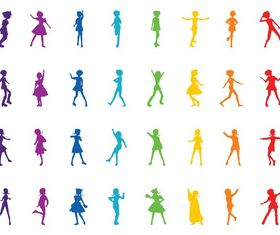 Colorful Girl Silhouettes vector