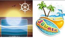 Summer Beach Backgrounds 13 vector graphics