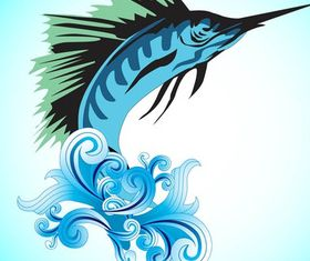 Jumping Marlin Fish vectors material