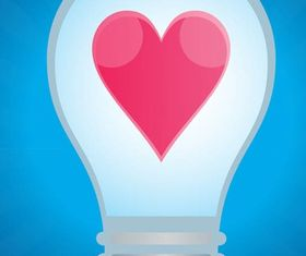 Lightbulb With Heart vector
