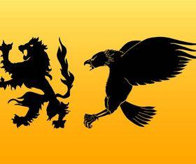 Heraldic Animals Silhouettes art vectors graphic