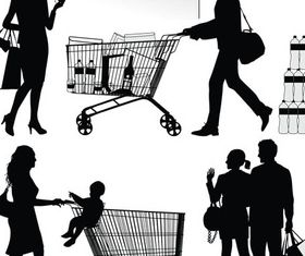 Buyers and Sellers Silhouettes art shiny vector