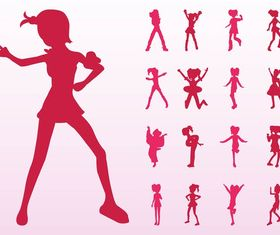 Jumping And Dancing Girls Silhouettes vector