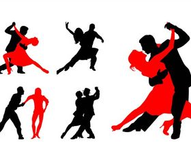 Dancing Couples Silhouettes Vector vector