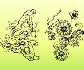 Retro Flower Drawings art vector graphics