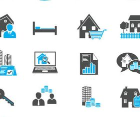 Real Estate Black Icons art vector graphics