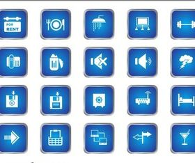 Blue Square Icons vector