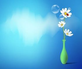 Vase With Daisies vector