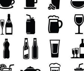Drinks Icons graphic shiny vector