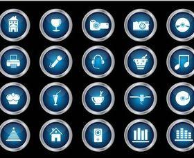 Shiny Round Icons art vector set