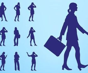 Businesswomen Silhouettes art vector graphics