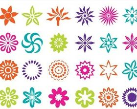 Flower Blossoms Icons art vectors graphic