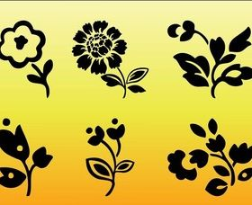 Floral Silhouettes free vector