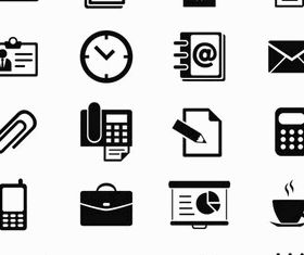 Silhouette Office Icons 2 shiny vector