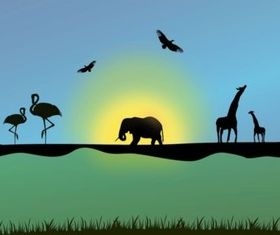 African Animals Illustration vector