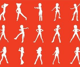 Dancing Girl Silhouettes art vectors material
