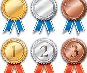 Award Shiny Badges free vectors