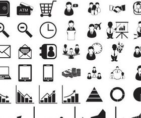 Different Black Icons art vector