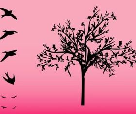 Tree And Birds vector