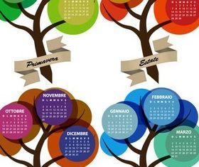 Calendars with Trees art set vector
