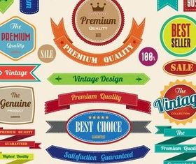 Shiny Retro Color Stickers vector