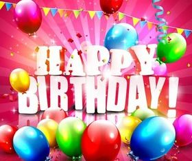 Birthday Backgrounds 4 vector set