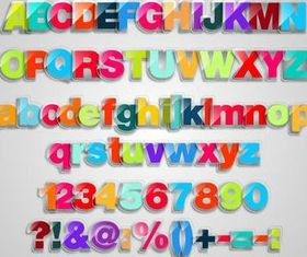 Glass Color Alphabets vector