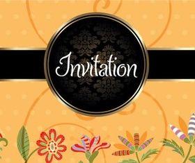 Floral Invitation Background vector set