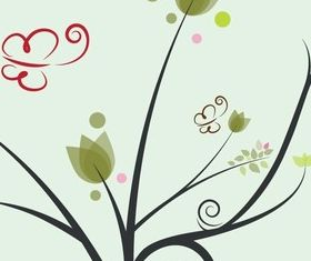 Floral Butterfly Background vector set