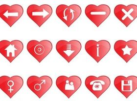 Heart Shaped Icons art vector