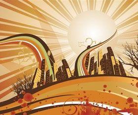 Autumn City Background vectors