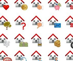 Color Real Estate Icons art vector