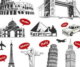 Creative Travel Labels vectors graphics