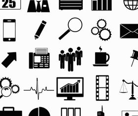 Silhouette Business Icons art vector