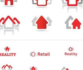 House Red Symbols Art vector