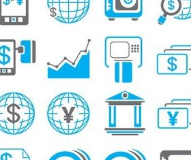 Business Blue Icons vector