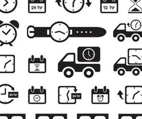 Clock Black Icons vectors material