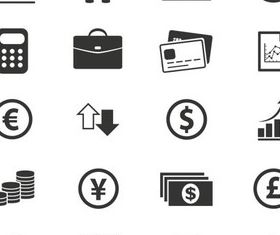 Silhouette Financial Icons 2 vectors