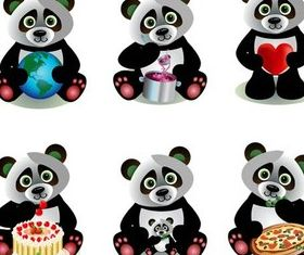 Cute Cartoon Pandas set vector
