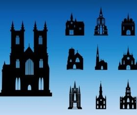 Church Silhouettes set vector