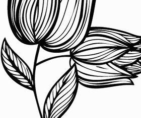 Hand Drawn Rose Flower Design vectors