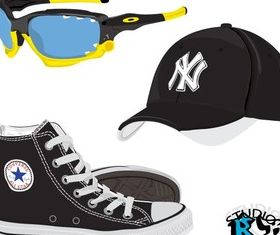 Shoes Sunglasses Hat vector design