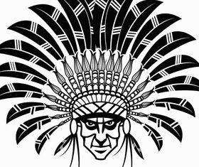 Indian Chief Wearing Headdress Art vector