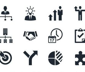 Silhouette Office Icons vector