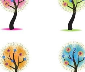 Season Shiny Trees art vector
