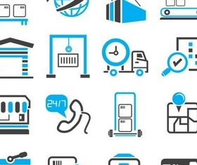 Shipping Blue Icons art vectors