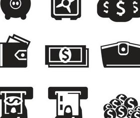 Silhouette Financial Icons Art set vector