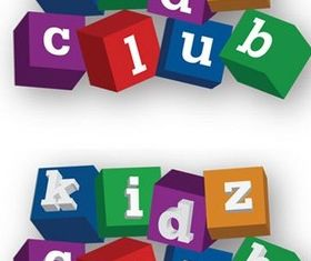 Kids Club Blocks Logo Free vector
