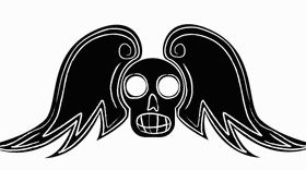 Free Winged Skull Art shiny vector